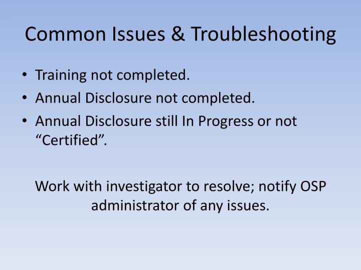 Common Issues & Troubleshooting