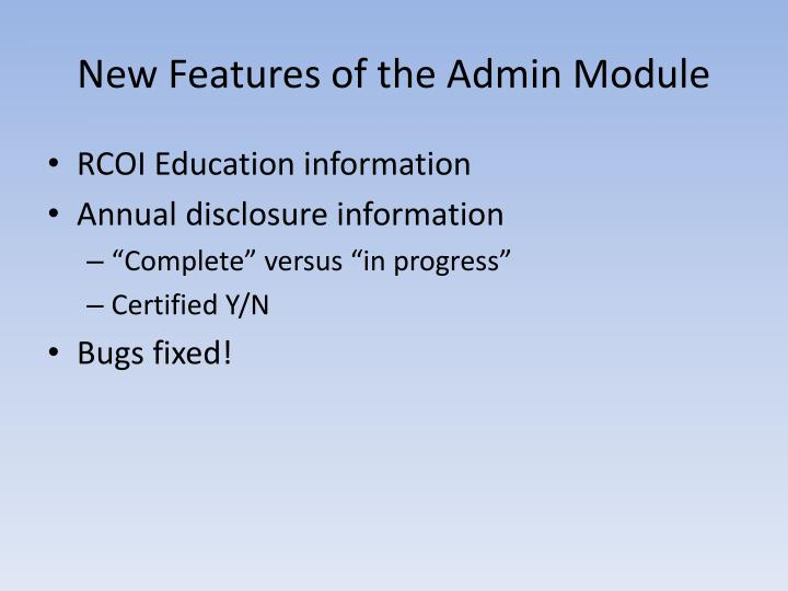 New features of the admin module