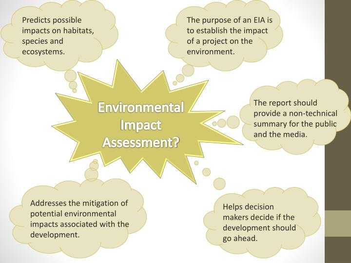 The purpose of an EIA is