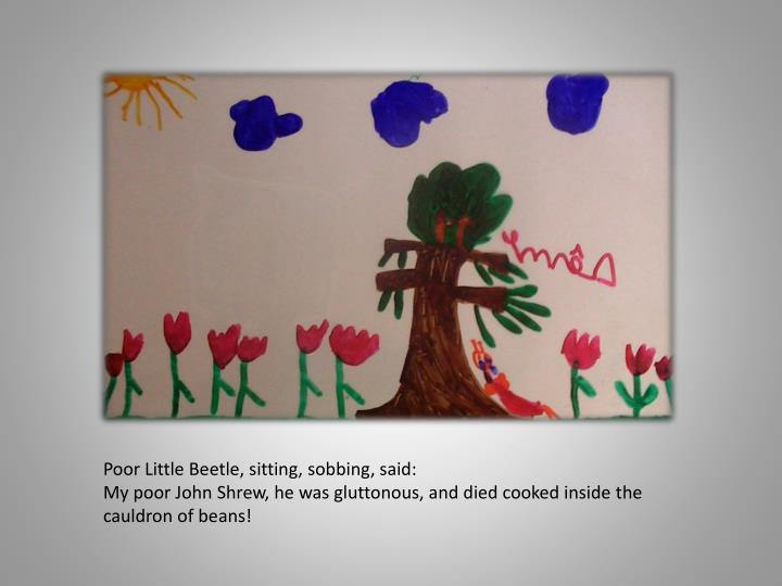 Poor Little Beetle, sitting, sobbing, said: