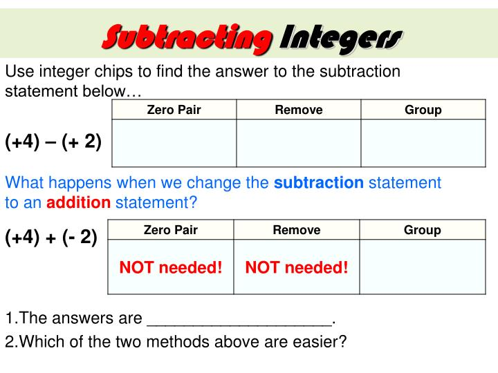 Use integer chips to find the answer to the subtraction statement below…