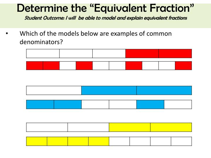 "Determine the ""Equivalent Fraction"""