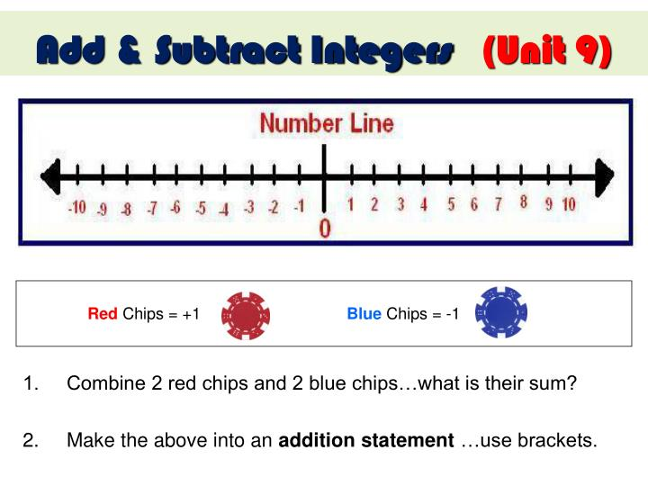 1.     Combine 2 red chips and 2 blue chips…what is their sum?