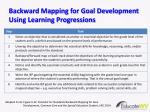 backward mapping for goal development using learning progressions