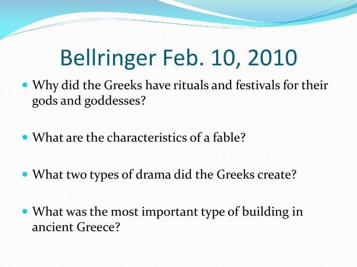 Bellringer Feb. 10, 2010