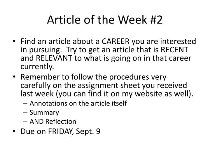 Article of the Week #2
