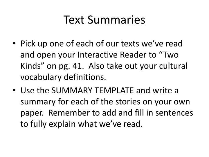 Text Summaries