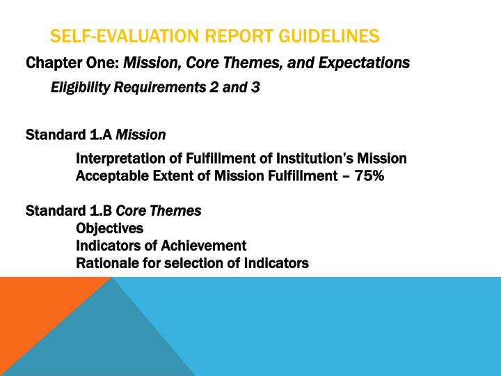 Self-Evaluation Report Guidelines