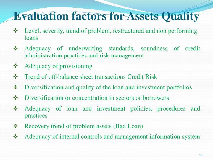 Evaluation factors for Assets Quality