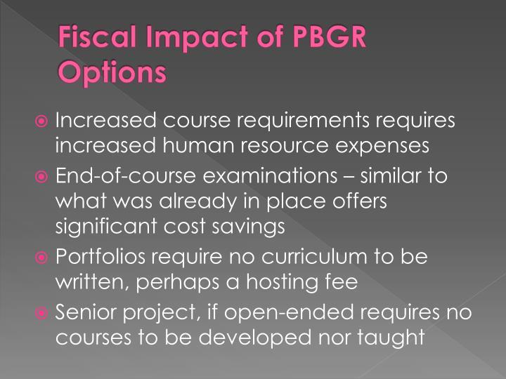 Fiscal Impact of PBGR Options