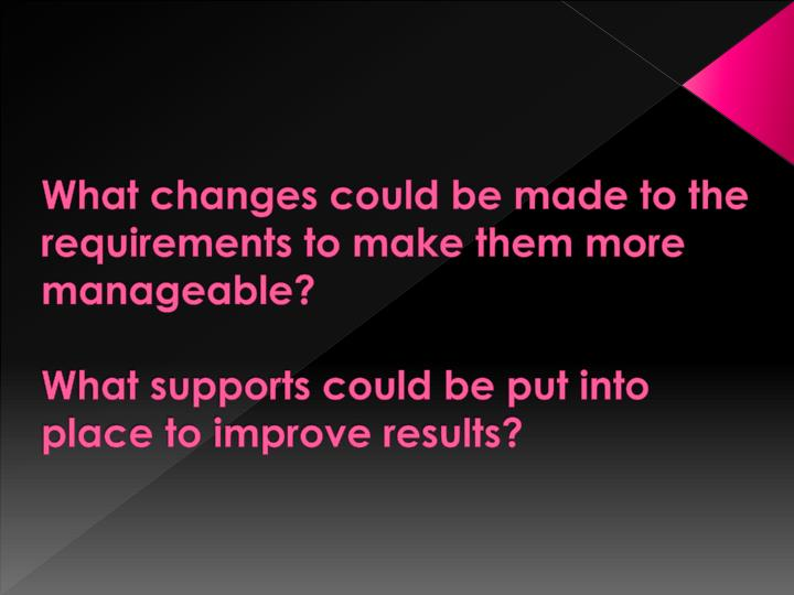 What changes could be made to the requirements to make them more manageable?