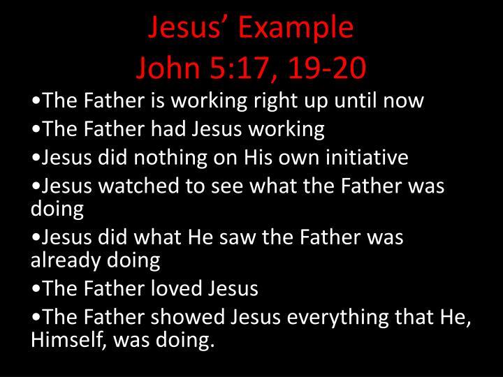 Jesus example john 5 17 19 20