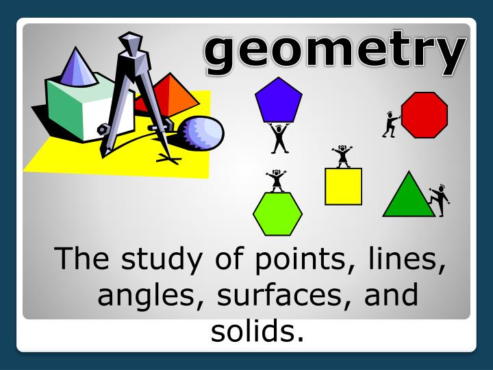 The study of points, lines, angles, surfaces, and solids.
