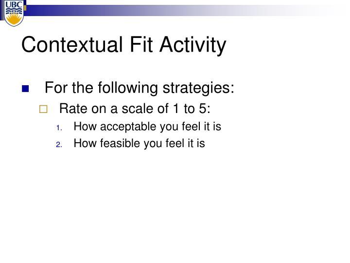 Contextual Fit Activity