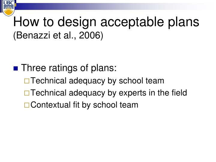 How to design acceptable plans