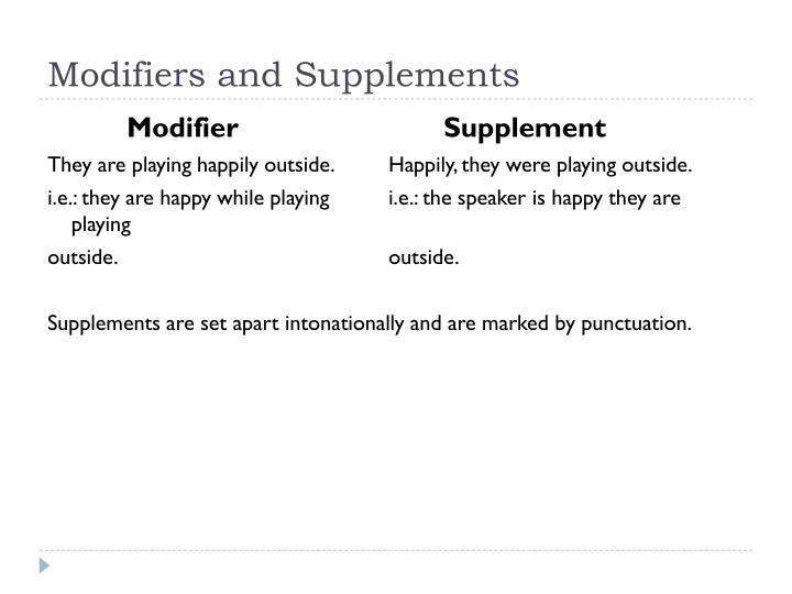 Modifiers and Supplements