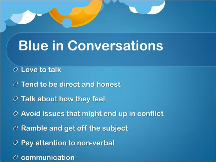 Blue in Conversations