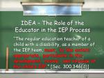 idea the role of the educator in the iep process1