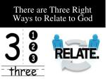 there are three right ways to relate to god