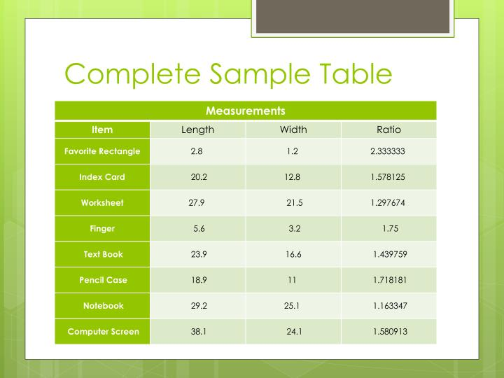 Complete Sample Table