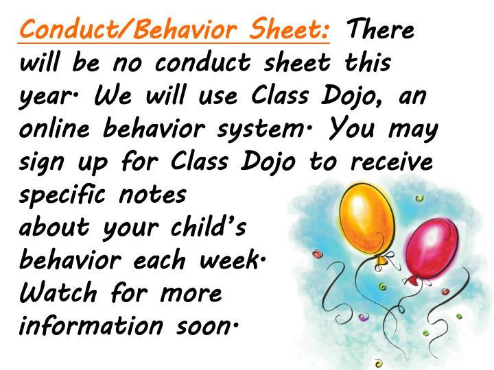 Conduct/Behavior Sheet: