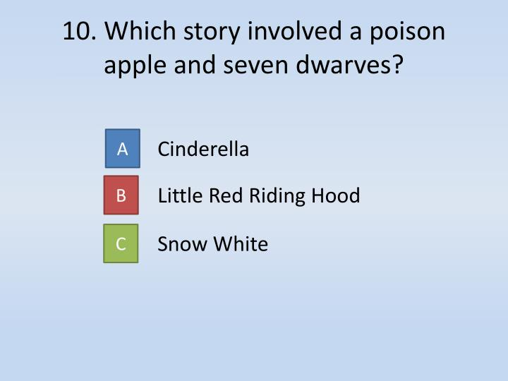 10. Which story involved a poison apple and seven dwarves?