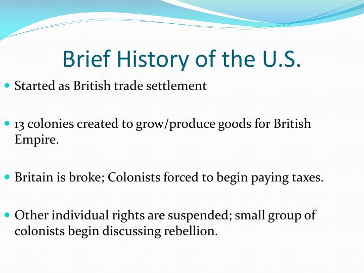 Brief history of the u s