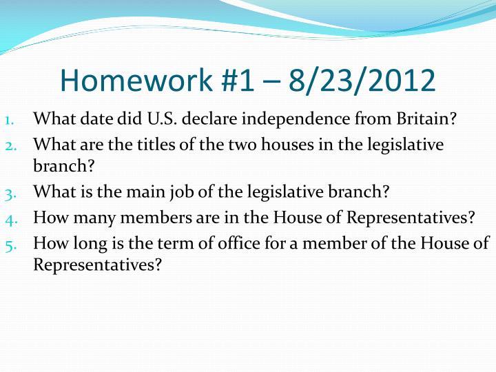Homework #1 – 8/23/2012