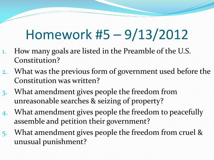 Homework #5 – 9/13/2012