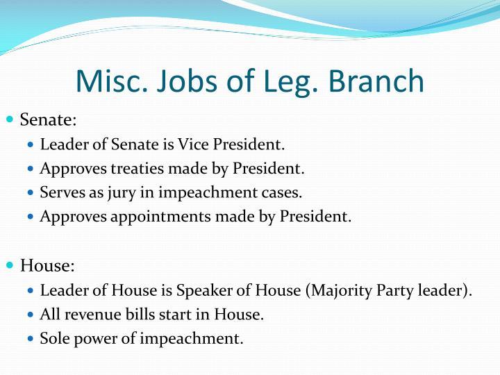 Misc. Jobs of Leg. Branch