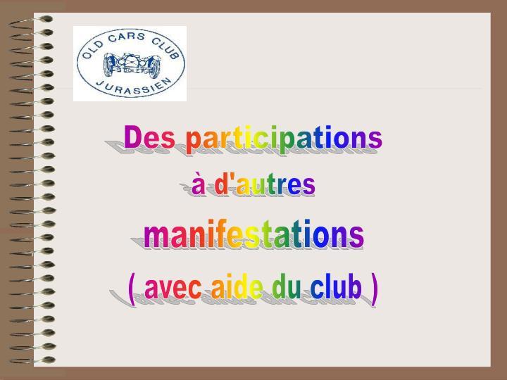 Des participations