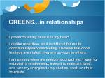 greens in relationships