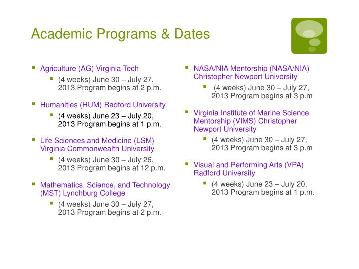 Academic Programs & Dates