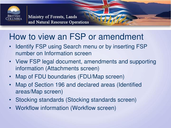 How to view an FSP or amendment