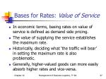 bases for rates value of service