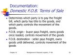documentation domestic f o b terms of sale