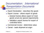 documentation international transportation documents
