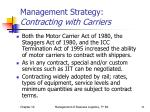 management strategy contracting with carriers