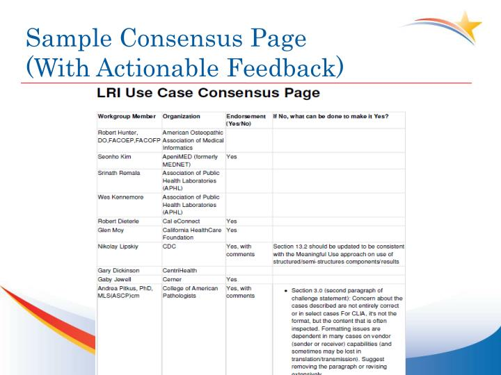 Sample Consensus Page