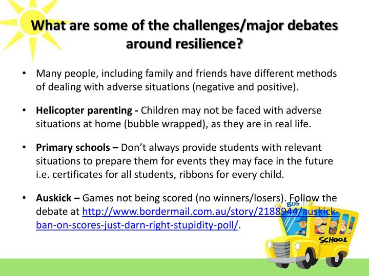 What are some of the challenges/major debates around resilience?