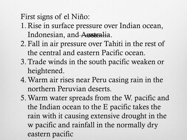 First signs of el Niño: