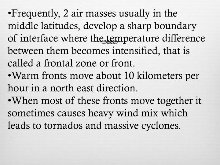 Frequently, 2 air masses usually in the middle latitudes, develop a sharp boundary of interface where the temperature difference between them becomes intensified, that is called a frontal zone or front.