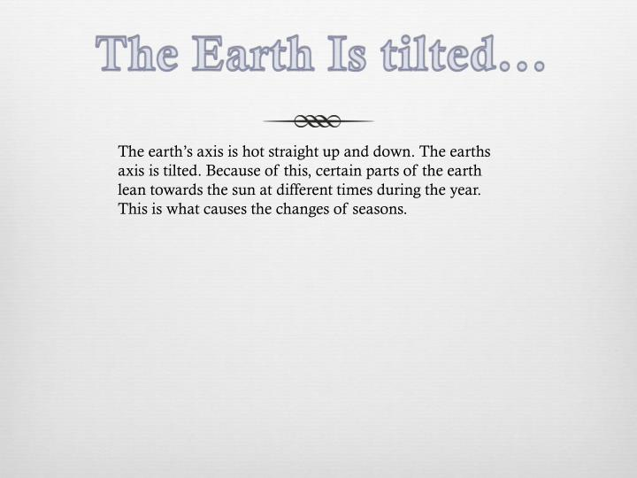 The Earth Is tilted...