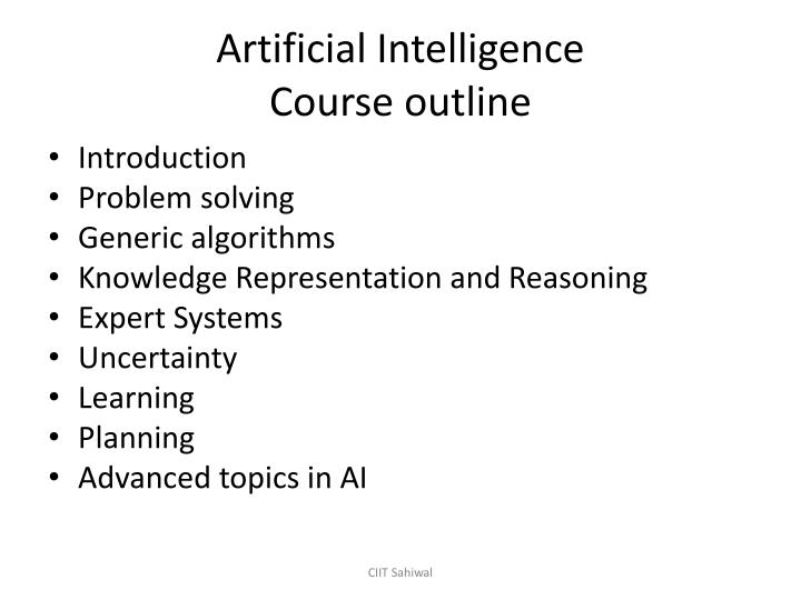 artificial intelligence course outline