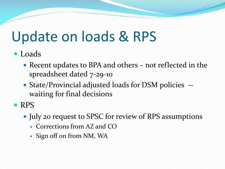 Update on loads & RPS