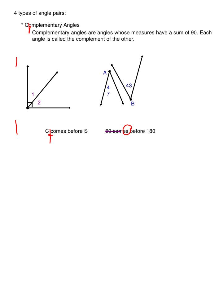 4 types of angle pairs: