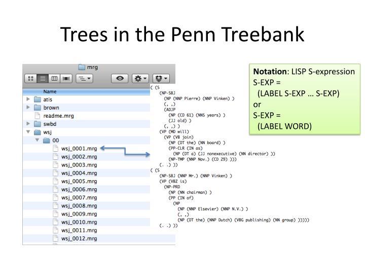 Trees in the penn treebank