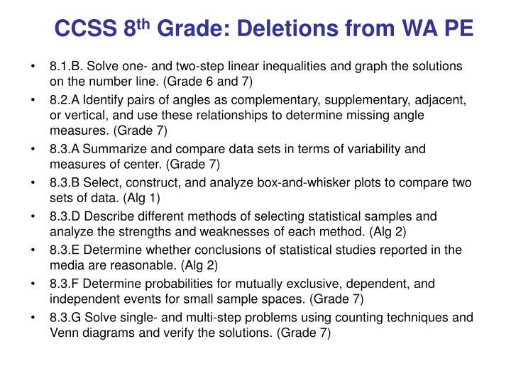 Ccss 8 th grade deletions from wa pe