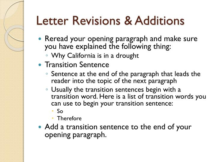 Letter revisions additions