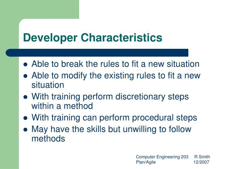 Developer Characteristics